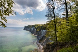 Chalk cliffs on the German island Ruegen at the Jasmund National Park with trees in the forground