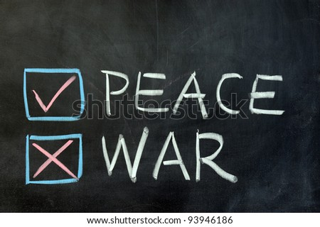 Chalk drawing - choose between peace and war