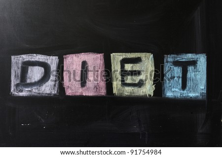 "Chalk drawing - ""Diet"" word written on chalkboard"