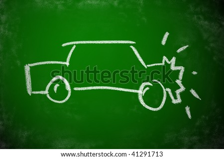 Chalk drawing of car crash. Simple icon for accident concept.
