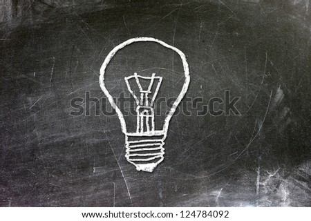 Chalk drawing of light bulb. Idea concept.