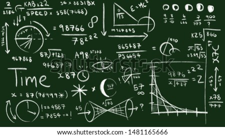 Chalk hand writing illustration of mathematical and physics formulas on the green background.