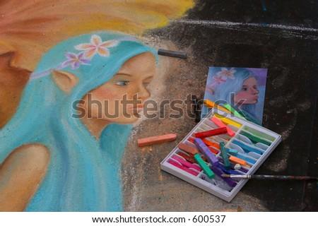 Chalk painting at the I Madonnari Italian Street Painting Festival, Santa Barbara, Calif.