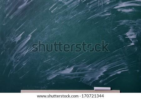 Chalk rubbed out on board. Blank chalkboard, blackboard texture with copy space.