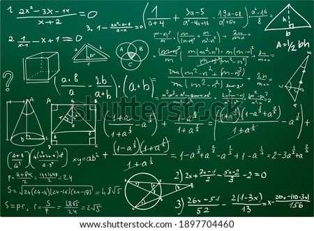 Chalk scribbles on a math board. Blackboard, formulas, shapes, geometry. The concept of education. Illustrations can be used to return to the school topic, algebra, natural sciences Foto stock ©