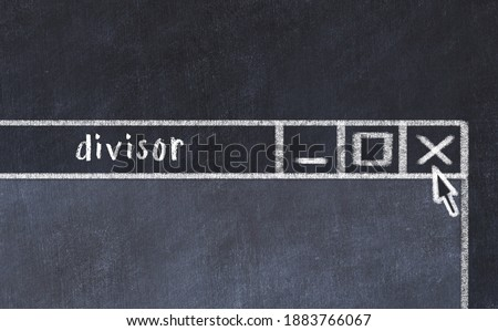 Chalk sketch of closing browser window with page header inscription divisor   Foto stock ©