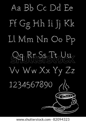 Chalk stroked alphabet and chalk drawing of cup of coffee