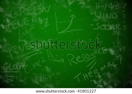 Chalkboard background showing global energy crisis brainstorming. Renewable energy or global warming concept.