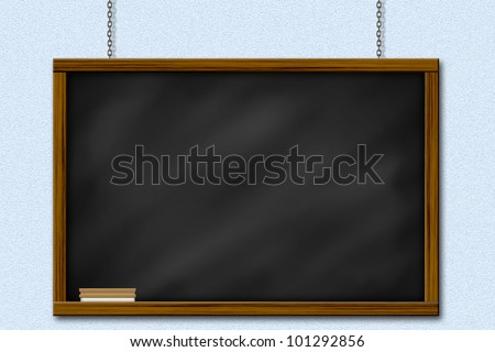 Chalkboard blackboard with frame and brush. Chalkboard texture empty blank with chalk traces and square wooden frame. It hanging by chain on wall.