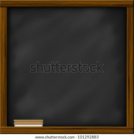 Chalkboard blackboard with frame and brush. Chalkboard texture empty blank with chalk traces and square wooden frame.