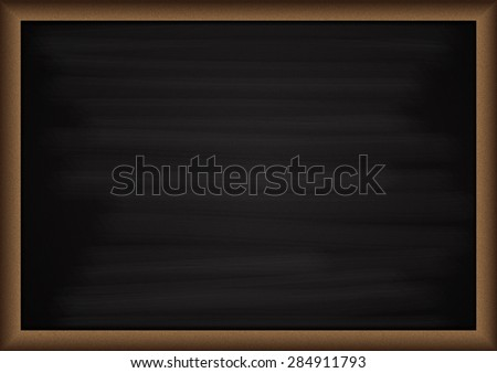 Chalkboard blackboard with frame and brush. Chalkboard texture empty blank with chalk traces and square wooden frame