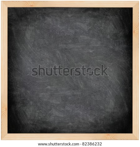 Chalkboard blackboard with frame isolated. Black chalk board texture empty blank with chalk traces and wooden frame. Square.