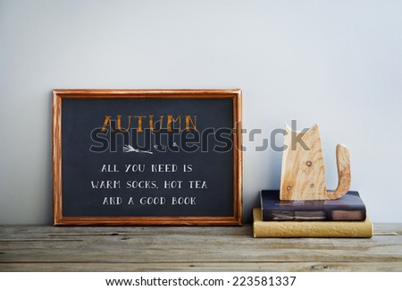 chalkboard frame on the grey wall with books and cat - ALL YOU NEED IS GOOD BOOK, HOT TEA AND SOCKS
