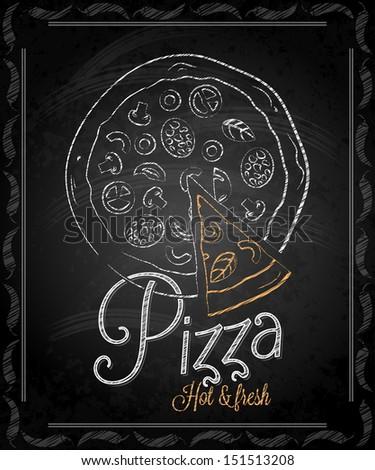 chalkboard - frame pizza menu illustration