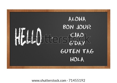 chalkboard illustration showing how to say hello in different languages - stock photo