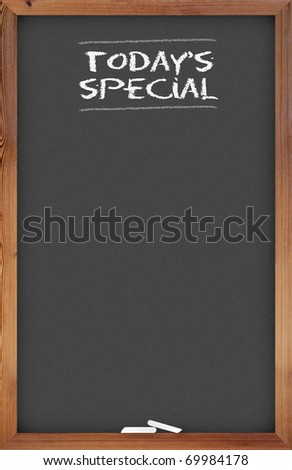 Chalkboard menu with today's special title