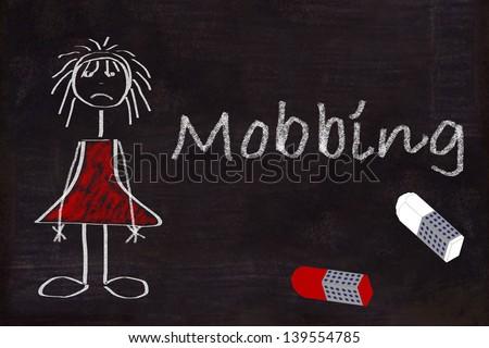 Chalkboard, stick figure, chalk, bullying