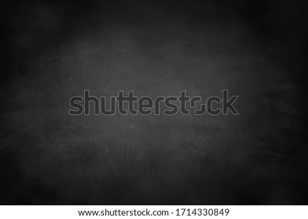 Chalkboard texture background with grunge dirt white chalk on blank black board billboard wall, copy space, element can use for wallpaper education communication backdrop