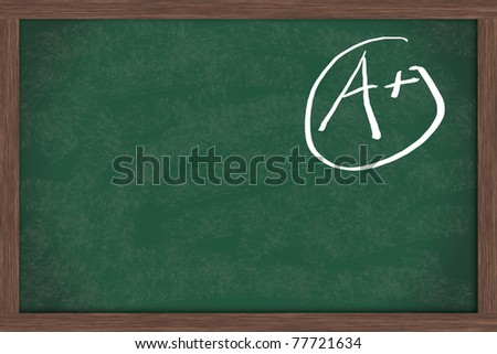 Chalkboard with an A+ in chalk with copy space for your message, Good Gades