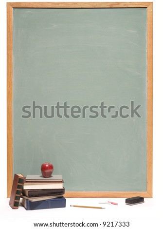 Chalkboard with books, apple, pencil, chalk and eraser on white