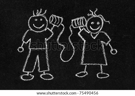 Chalkboard with childs drawing of stick people talking through tin cans phone