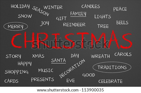 Chalkboard with christmas concept