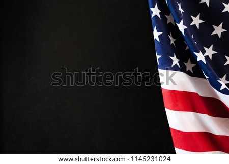 chalkboard with flag USA, black background, studio, sunlight #1145231024