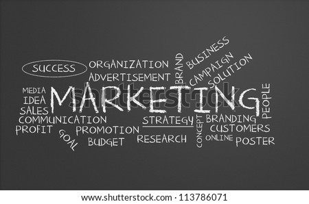 Chalkboard with marketing concept
