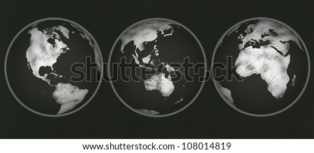 Chalkboard with three views of planet earth drawn in chalk. NASA map from http://visibleearth.nasa.gov/view.php?id=74192 used as reference to redraw.
