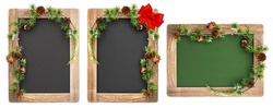 Chalkboard with wooden frame and Christmas decoration isolated on white background. Vintage blackboard with place for your text.