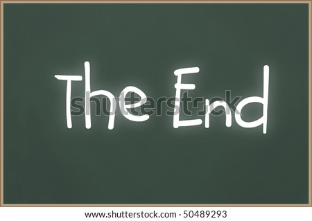 Chalkboard with wooden frame and the text The End