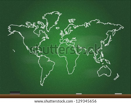 Chalkboard World Map. Also see vector version.