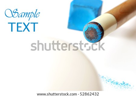 Chalked cue stick with ball on white background.  Macro with extremely shallow dof.  Copy space included.