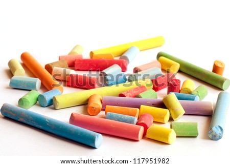 Chalks of different colors isolated on white