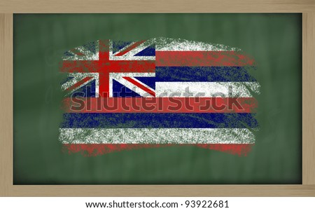 Chalky american state of hawaii flag painted with color chalk on old blackboard