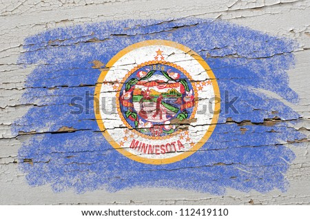 Chalky american state of minnesota flag precisely painted with color chalk on grunge wooden texture