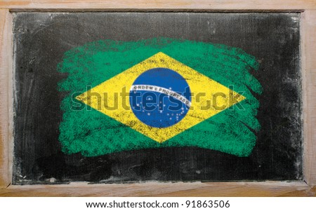 Chalky Brazilian flag painted with color chalk on old blackboard