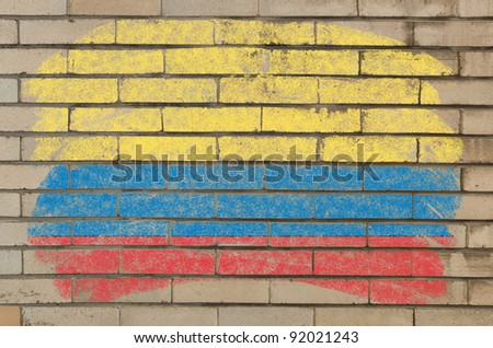 Chalky columbian flag painted with color chalk on grunge old brick wall