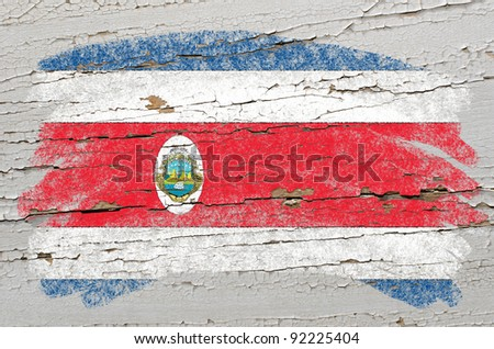 Chalky costa rica flag painted with color chalk on grunge wooden texture