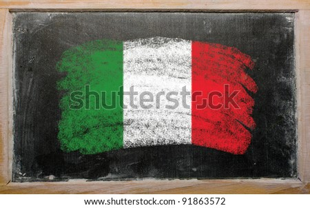 Chalky Italian flag painted with color chalk on old blackboard - stock photo