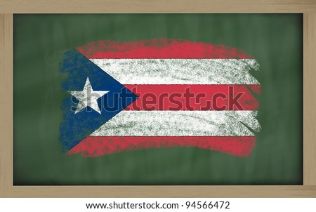 Chalky national flag of puertorico painted with color chalk on blackboard illustration