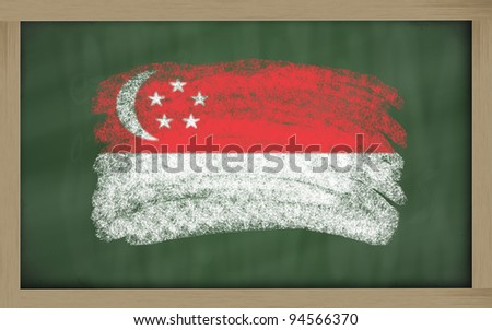 Chalky national flag of singapore painted with color chalk on blackboard illustration