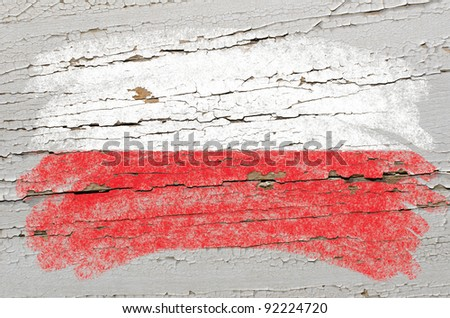 Chalky polish flag painted with color chalk on grunge wooden texture