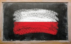 Chalky polish flag painted with color chalk on old blackboard