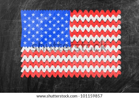 Chalky United States of America flag painted with color chalk on old blackboard