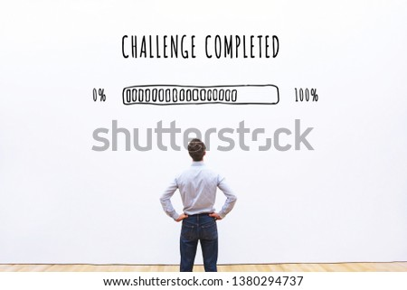 challenge completed progress loading bar, concept of achievement process #1380294737