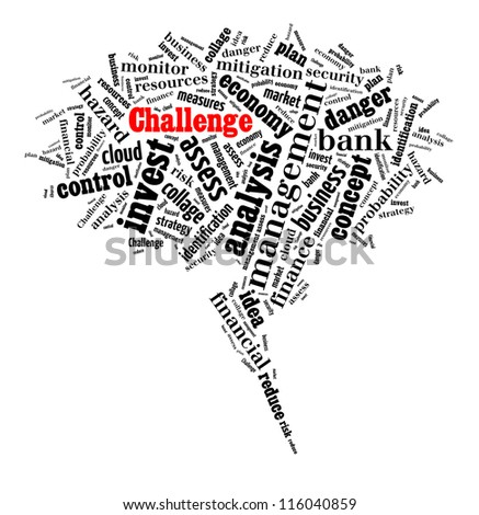 Challenge in word collage composed in bubble shape