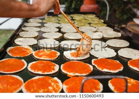chalupas poblanas mexican food in puebla city spicy snack #1150600493