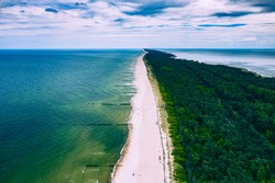 Chalupy Beach Aerial View. Hel Penisula from Above. Baltic Sea, Pomerania, Poland.