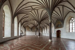 Chamber in greatest Gothic castle in Europe - Malbork. Teutonic castle. World Heritage List UNESCO. Gothic gallery in the Malbork castle, Poland